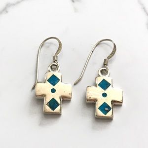 Vintage Sterling Turquoise Cross Earrings